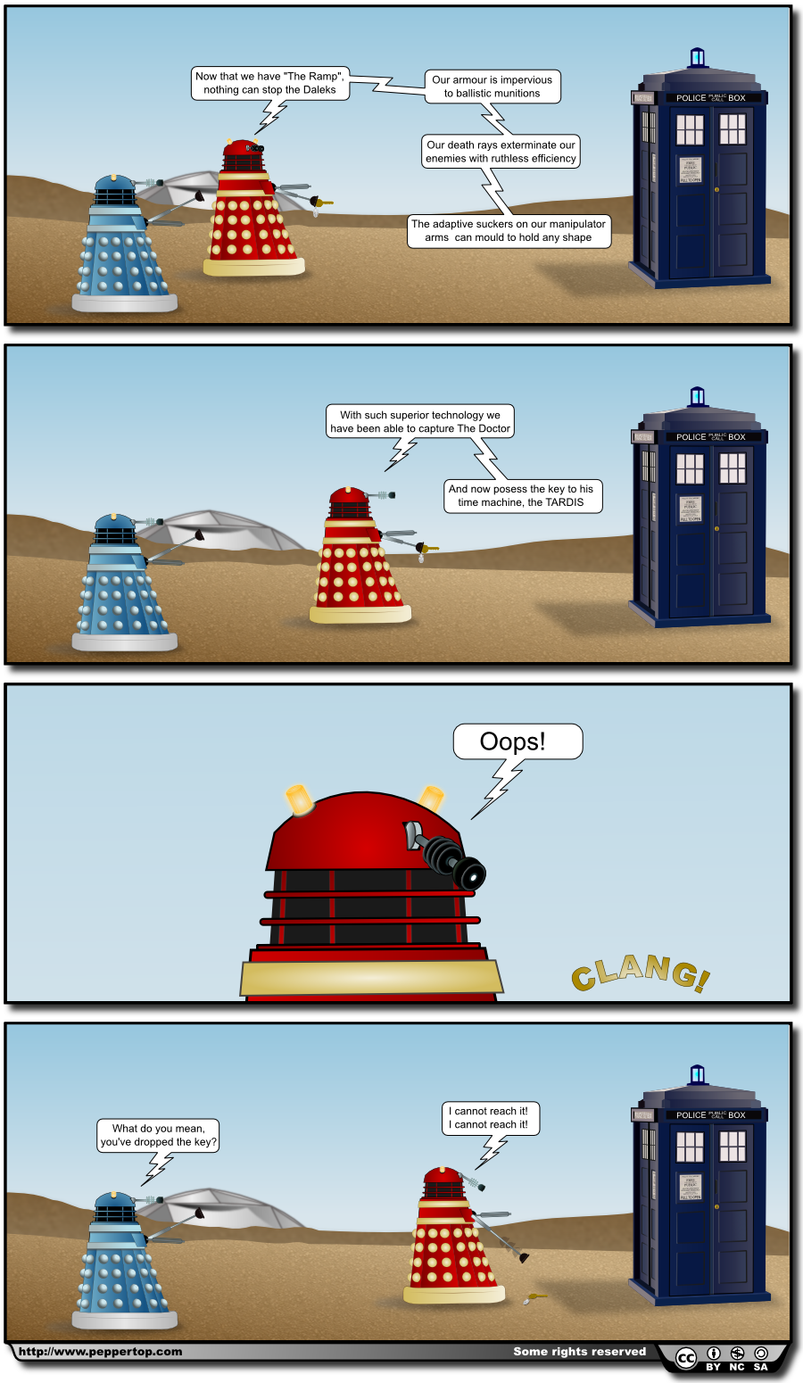 """The Key to the TARDIS"" This is a direct sequel to our previous strip, ""Crash Test Dalek"", and first appeared on our website in October 2010. Visit our site for the original commentary, the Inkscape SVG source file, and an Italian translation."