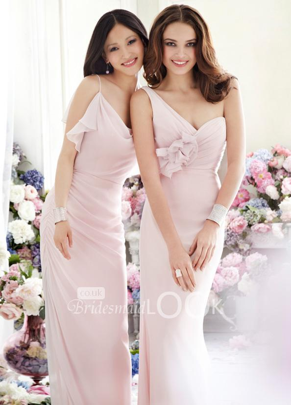 Blush Draped One-shoulder Chiffon A-line Long Flower Bridesmaid Dress