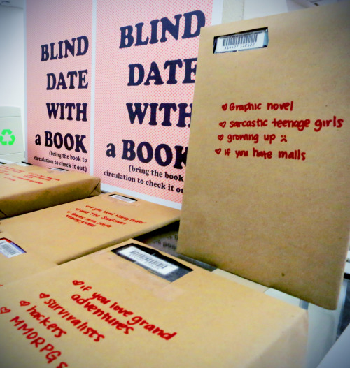 teachingliteracy:  alethiosaur: Inspired by Worthington Libraries: Blind Date with a Book! We started with ~40 books. Two hours later, all but four had found homes with library patrons (sorry, Flush, Mixed-Up Files of Mrs. Basil E. Frankweiler, Persepolis, and The ThingsThey Carried, they don't know what they're missing). Now, to send forth a new fleet of exciting books into student arms. Whew!