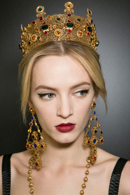 Daria Strokous backstage at Dolce & Gabbana Fall Winter 2013 | MFW