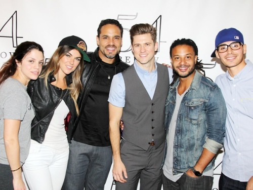 broadwaycom:  Aaron Tveit gets a GRACELAND greeting from his co-stars backstage at 54 Below