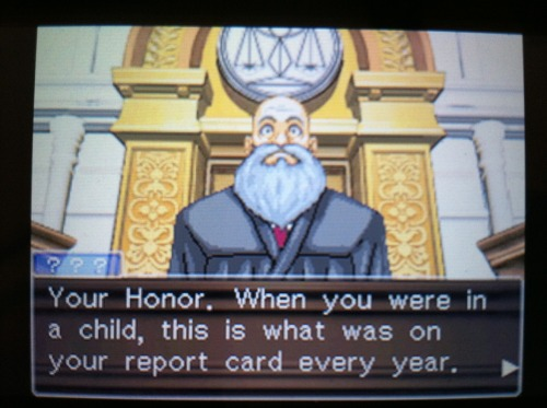 Was playing Phoenix Wright Ace Attorney when this pops up. His face.