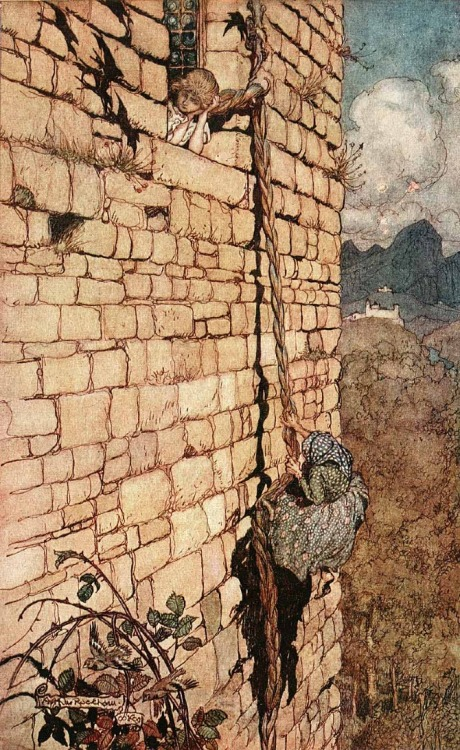 I love this picture of Rapunzel by Arthur Rackham. The hook on the building and the way she's holding the base of her neck shows the part of the story that isn't written - the painful every dayness of her life. She isn't sitting next to the window singing and brushing her luscious locks, she's the transportation that lets her captor come and go. Her face turned toward the shadows of the birds on the wall and the plants growing out of the bricks hint at how desperate her situation is. At least her tears cure blindness. More Arthur Rackham