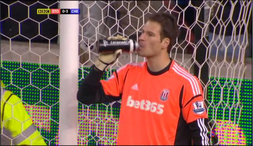 Asmir Begović is sad because Jon Walters was more of a threat to him than Fernando Torres.