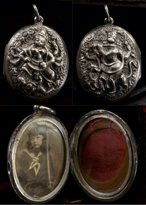 eriebasin:  19th Century Large Anglo-Indian Vishnu & Kali Locket, Silver, $425 I always love the overlap of Indian and Victorian jewelry in the 19th century.  This locket is something that probably came back to England as a souvenir of India.  But in spite of the Hindu motifs on either side of the locket, it probably has more in common with English Victorian jewelry than with Indian jewelry.  Lockets of similar construction with raised figural motifs were popular in the mid to late 19th century in England.  An Indian jeweler likely modeled this one after an English example.   It's hard to relay in a photo, but the scale and depth of relief in the design are really amazing.  It's huge. P.S. I believe that's Kali and Vishnu pictured, but if I'm wrong, do let me know! P.P.S From the same estate, we also have a bracelet with similar motifs.