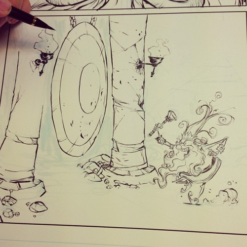 skottieyoung:  Inking OZ. Get the gong.