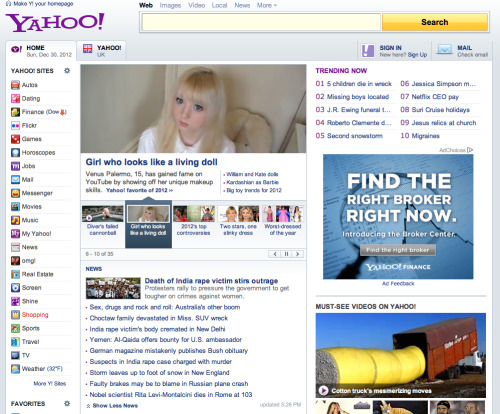 "I'm on the Yahoo front page! ♡ ""Yahoo! Editors have selected this article as a favorite of 2012. It first appeared on Yahoo! Shine on March 23, and became one of the most popular articles of the year. Palermo was a front-runner in the strange living-Barbie YouTube trend and posts on YouTube to this day."""