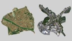 urbanrelationsinfo:  Left: renaissance-era Florence, Italy. Right: a single freeway interchange in Atlanta, GA. Same scale. Image posted by Max Chanowitz in his answer to Why are San Franciscans so against freeway construction? on Quora. Originally posted by Steve Mouzon in The Price Of Speed.