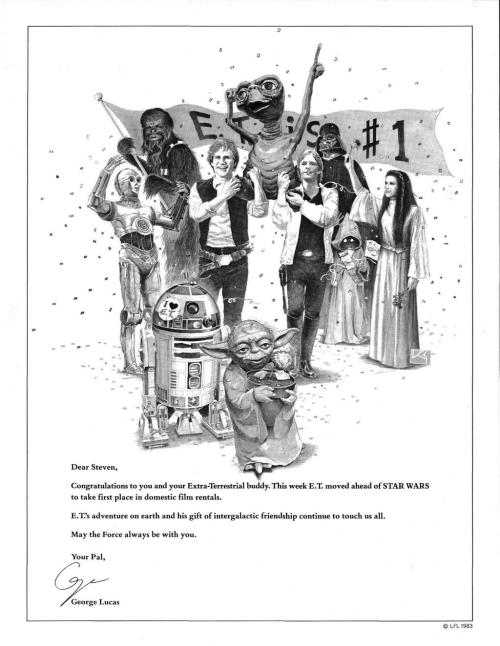 tiefighters:  30 years ago today, Variety magazine posted an ad from George Lucas to pal Steven Speilberg. Via:@StarWars
