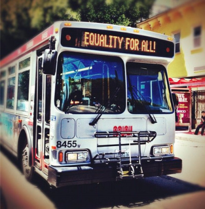 thetransportationstation:  SF Muni representing for gay rights!  Can not wait to reach the West Coast.