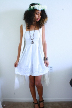 blackfashion:  Flower Crown: DIY, H&M Fringe Cardigan: Rocket Clothing Exchange, Dress: Savers Thrift Store, Bracelet: Burlingtons, Steve Madden Heels:Rocket Clothing Exchange Alexis/18/Shawnee, KS Style Blog/Tumblr/Instagram: @AlexisSplash