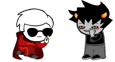 "KARKAT: YOU'RE A FUCKING IDIOT.DAVE: a ""wow omfg yes of course dave lets go skip into the sunset together like one of those shitty romcoms"" would have been perfectly fine yknow  so an anon wanted davekat!!! :o ahaha i'm sorry thIS ISN'T THAT GOOD IDEK WHAT'S HAPPENING WITH KARKAT'S FACE???like i tried to make him be annoyed but still happy but he just looks stoned lmfao okay bye sorry i trie,d""d, :""')"