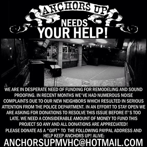 jimwhereitends:  If you can, please donate to @anchorsupmvhc! Keep the best venue on the east coast going!