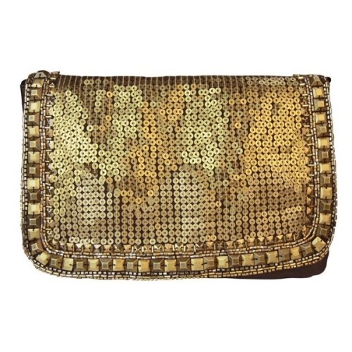 Fun Gold Sequinned Clutch   ❤ liked on Polyvore (see more gold clutches)
