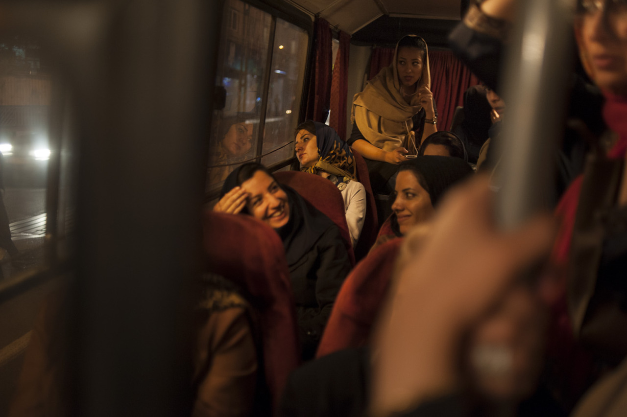 An evening bus ride to centeral Tehran
