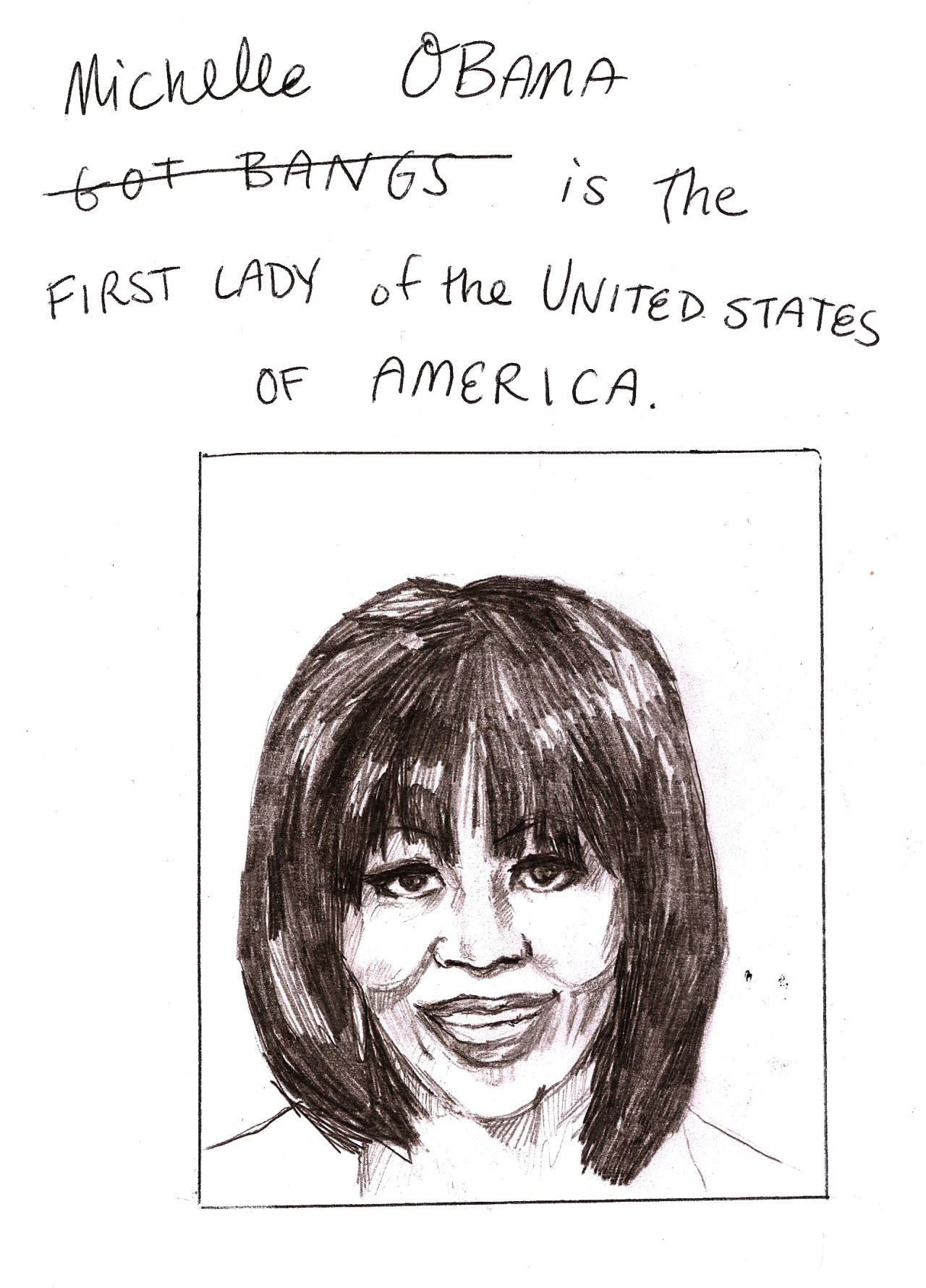 "Michelle Obama Got Bangs Is the First Lady of the United States of America. Here's a list of major news outlets that shared the scoop about Michelle Obama's bangs today: USA Today, The LA Times, The Huffington Post, ABC News, NBC News, CBS News, The Philadelphia Inquirer, and The New York Times (not the style section). With headlines like ""Michelle Obama's Bangs are a Total Shock to The System"" (HuffPo) and ""The World Reacts to Michelle Obama's Bangs,"" (USA Today) these articles would be cringe-worthy/nauseauting/infuriating even on a less auspicious day, as they were on her birthday, when the bangs-buzz began over a photo she took with inaugural citizen co-chair David Hall and posted on her office's new twitter account, @Flotus (genius). But on the day she joined her husband as he rested his hand on Dr. King's bible to be sworn in for a SECOND term of office as President of the most powerful country in the world, you might think, maybe, we'd have more important things to talk about. Listen, I'm just as shallow as the next guy (obviously). Back during the DNC when Michelle gave what was pretty safely the best speech of the entire campaign, I was among many who also found time to discuss her bold, blue-gray nail polish. When I received an email from Barack (don't you love those) on January 18th with the subject ""Morgan, Say You're In,"" I opened it to find a video Michelle recorded to launch the administration's new ""grassroots organization"" Organizing for Action, and before clicking play, I immediately g-chatted a friend to say ""ooh michelle obama got bangs. haha lolz. im a bad feminist."" I am not a great feminist, and I'll cop to that. But I am also not a major news outlet.  I don't doubt that Michelle herself agonized over the choice to cut her hair, as only the First Lady is expected to do. I just wish the media had also agonized over their decision to go ape-shit about it. Unfortunately, the public reaction to Michelle's bang trim is perfectly in keeping with the artificial importance that has always been placed on women's White House style, and for her part, Michelle has handled the stakes well. I suppose she deserves some form of recognition for gracefully navigating such a fucked up minefield of complete bullshit that has nothing to do with anything. On the other hand, she also reserves the right to exercise her personal expression through style, as all red-blooded capitalists are free to do. There has been plenty of thoughtful commentary about the impulse to trivialize fashion while other forms of expression are elevated, as the following quote from the essay ""Fashion is a Feminist Issue"" contends: ""It is the height of irony that women are valued for our looks, encouraged to make ourselves beautiful and ornamental… and are then derided as shallow and vain for doing so. And it's a subtle but definite form of sexism to take one of the few forms of expression where women have more freedom, and treat it as a form of expression that's inherently superficial and trivial. Like it or not, fashion and style are primarily a women's art form. And I think it gets treated as trivial because women get treated as trivial."" So here we are. Michelle Obama, you look great. I also know you are a brilliant and gifted speaker, a mother, an attorney, and an advocate for military families, poverty awareness, volunteerism, and nutrition. But even your own husband rather cheekily referred to your haircut as ""the most significant event of the inauguration,"" so I'm not going to pretend that the way you look has nothing to do with how much America loves you. In fact, when I think about the number of Pakistani citizens killed by predator drones since Barack took office, (between 1700 and 3050 people), your bangs are a nice palliative. But I still think that on this day, of all days, we should have more important things to talk about. At the very least, we have Beyonce's performance to discuss."