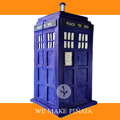 "cr3atio:  For The 50TH ANNIVERSARY OF DOCTOR WHO We Made ""TARDIS"" with real light on top! / Para el 50 ANIVERSARIO DE DOCTOR WHO hicimos ""TARDIS"" con lampara real. FOR SALE http://cr3atio.com/pinataART.htm  We make Piñata"