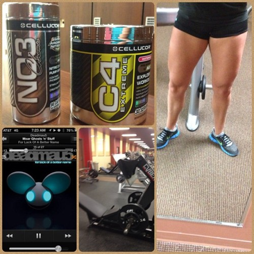 Legs day!!! In love with my #cellucor NO3 and C4, gets me awake for early morning workouts ☀😋 Did extensions, curls (standing & laying), calf raises, squats, press downs on assisted dip/chin machine, leg press (feet together and apart), and lunges. I'm also upping the weight I'm lifting so that makes me a happy panda 🐼 #fit #fitspo #fitness #happy #body #progress #train #training #cellucornation #no3 #c4 #love #powerhouse #weights #weightlift #lift #hotchicksliftweights