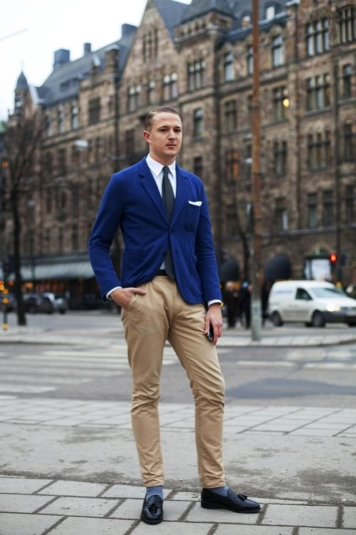 A man from Stockholm in a classic blue blazer snapped by the Sartorialist.