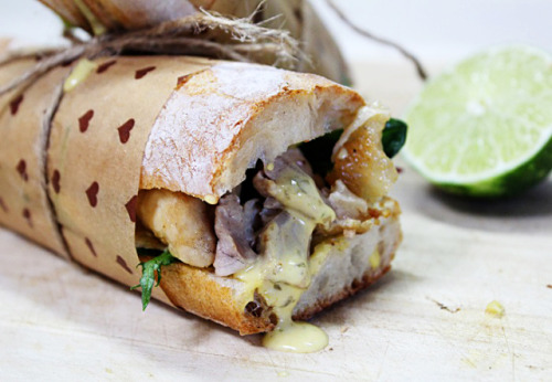 in-my-mouth:  Roasted Chicken Baguette Sandwich with Lime and Thai Green Curry Tartar Sauce