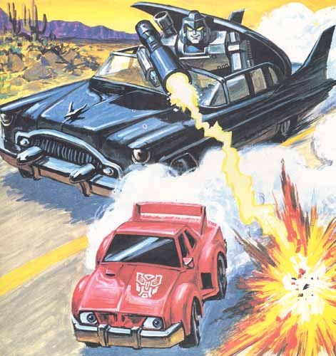 …the really amusing parts of the book, though are Cliffjumper's car mode — which features eyeballs in his headlights — and Megatron's appearance as the driver of the black convertable near the end of the race. (Note that Megatron's car has eyeballs, too, but looks mean instead of scared like Cliffjumper. Which is really quite a feat artistically considering neither car has obvious eyebrows to convey emotion.)