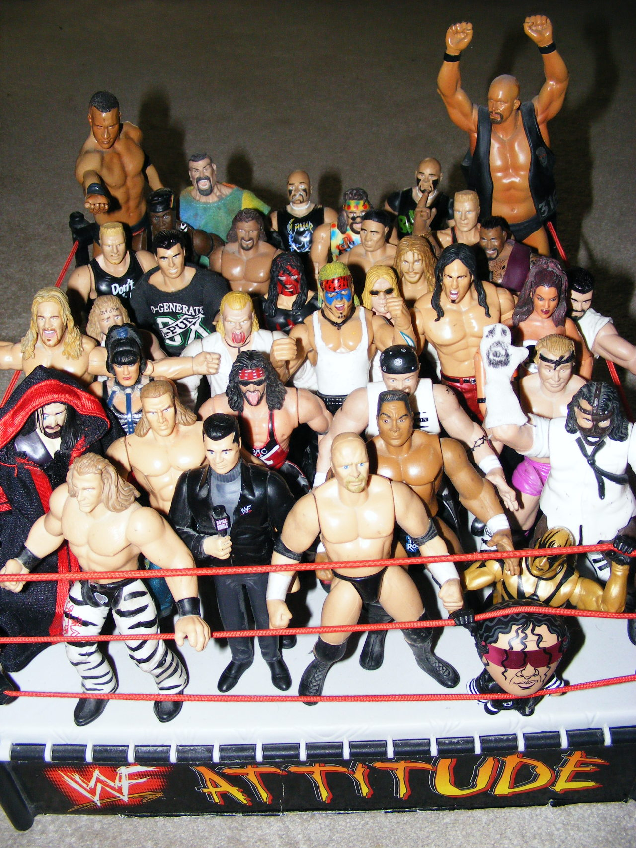 The WWF Attitude Era This is by no means my entire collection. Just a random selection of figures that I have that represent the Attitude era. Missing are Sable and Sunny. My Sunny figure was MIA (just found it an hour ago) and the Sable figure was getting her arm glued back on. For some reason, a lot of the Jakks figures were real assholes about losing limbs. Many a fun time was had for this chubby, chili-bowled figure booker alongside this roster of Bone Crunching Action warriors. I'd have entire PPV line-ups set for my figures, with ridiculous names for the shows like WWF Revenge and WWF Stable Wars. But, then again, Bragging Rights and Capitol Punishment weren't exactly demiurgic.