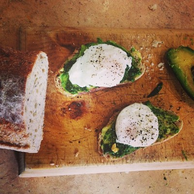 claireruns:  Poached eggs on avocado and dairy free pesto with multigrain sourdough and cracked pepper. :)
