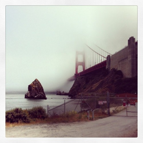 North Tower Golden Gate Bridge from below - road to Cavallo Point #SF #sanfrancisco  (at FREEZIN MY A$# OFF ON THE GG BRIDGE)