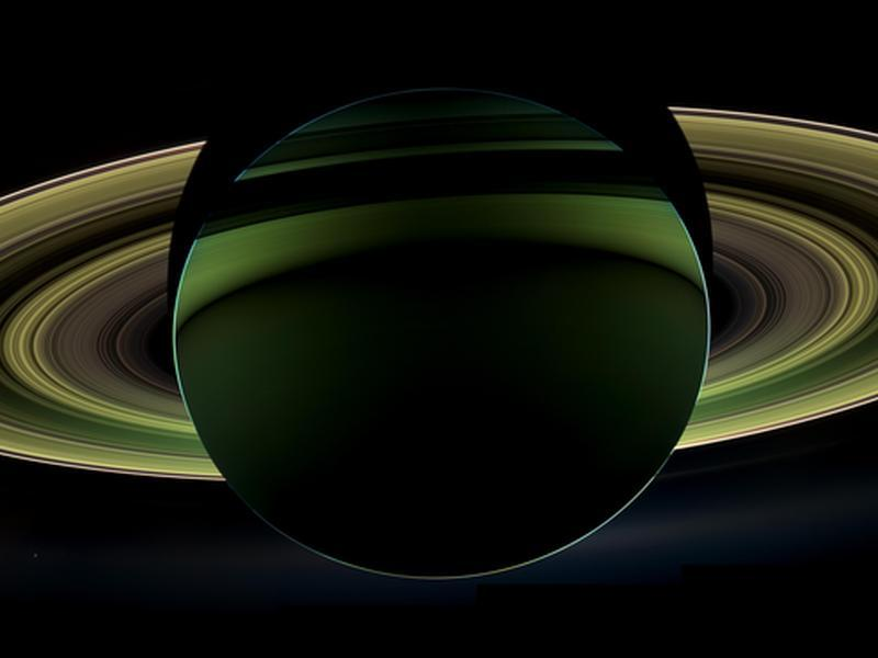 Cassini's view of Saturn from within her shadow. Swoooooon. (Thanks to GW for this)