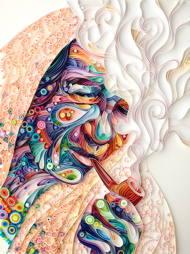 laughingsquid:  Incredibly Detailed Quilled Paper Portraits by Yulia Brodskaya