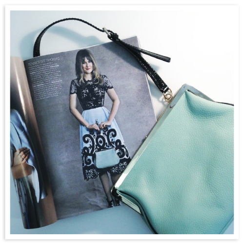 katespadeny:  PRETTY IN PASTELS IN BRITISH VOGUE a sophisticated hint of mint for spring with our parker place tamera bag