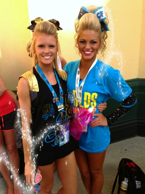 sweatand-tears:  wildcat—swag:  cheer-athletics-cheetahs:  cheer-is-religion:  holy hair on the right  My girl Sarah Kate on the left  they're beautiful