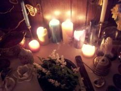summer moon flower nature candles Goddess altar offering beltane