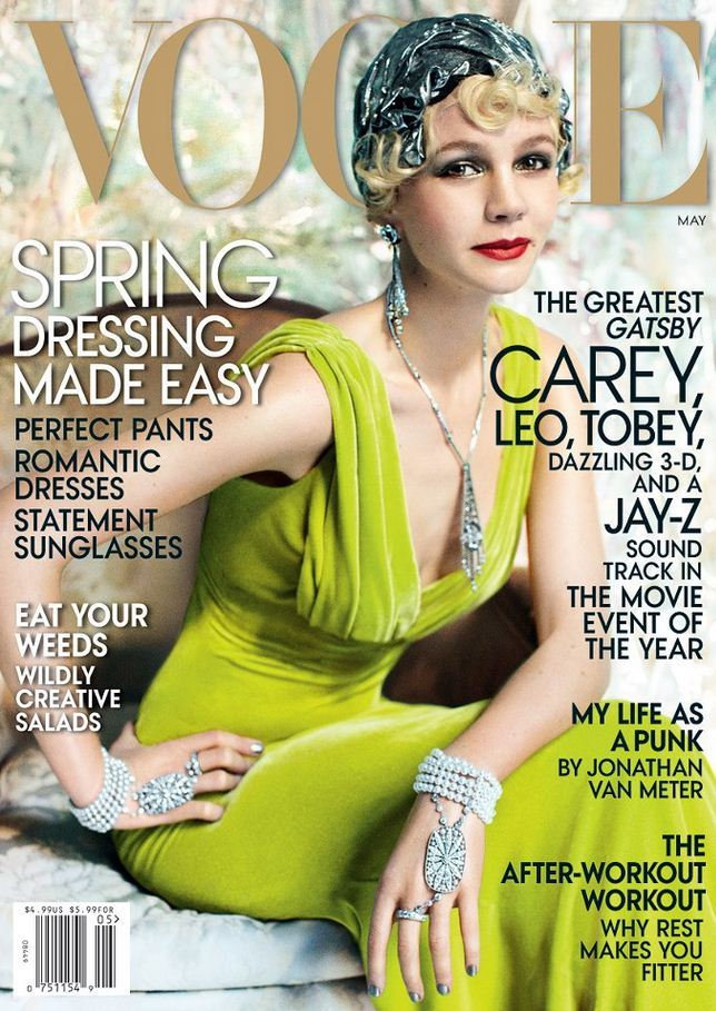 """Gatsby? what Gatsby?"" Carey Mulligan in Oscar de la Renta on the May cover of Vogue."