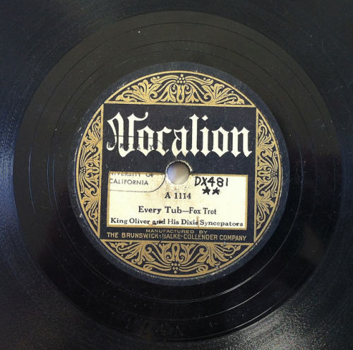 King Oliver & his Dixie Syncopators, Vocalion A 1114 with UC Berkeley library stamp by bunky's pickle on Flickr.Via Flickr: Recorded April 22, 1927.