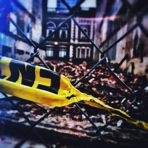 #caution #destruction #demolition #market #street #philadelphia #philly #grime #urban #decay #fenced #off #psychogeography