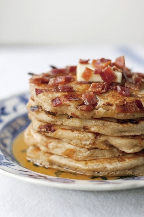 mommystyle:  theeverygirl:  maple bacon pancakes  SHUT THE FRONT DOOR.  Yum!!!  With a fried egg on top and a pinch of salt!