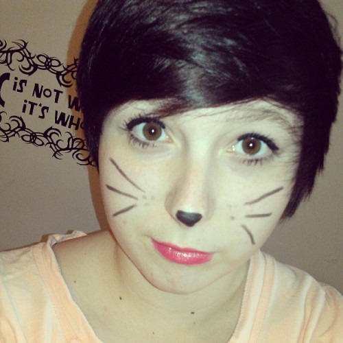 Meow c: #me #cat #kitty #makeup #whiskers #lipstick #happy #browneyes #shorthair #cute @mramsterdam_movedtotexas @breecoebreathesair c: