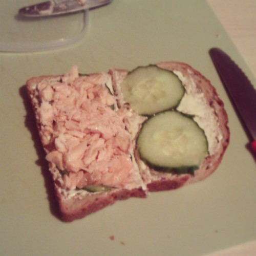 Yes, my lunch is a salmon and cucumber sandwich. I have decided to start reintroducing fish and meat back into my diet after almost a year and half of being vegetarian. I originally became vegetarian for ethical reasons. However, I my health started deteriorating soon after. I became lethargic and often caught colds even when eating vegetarian proteins. I continued thinking that maybe it would improve, and I was also scared people would judge me for quitting, but really, it is none of their business and my health has been put at stake. Although I am very sad I have to do this, I will continue to choose ethically sourced meats where possible.