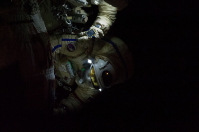 Cosmonaut Vinogradov During Station Spacewalk, NASA: 2Explore