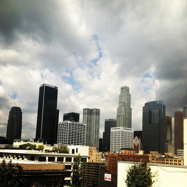 It's gonna rain tomorrow! #dtla #lo-fi #skyline #sky #clouds