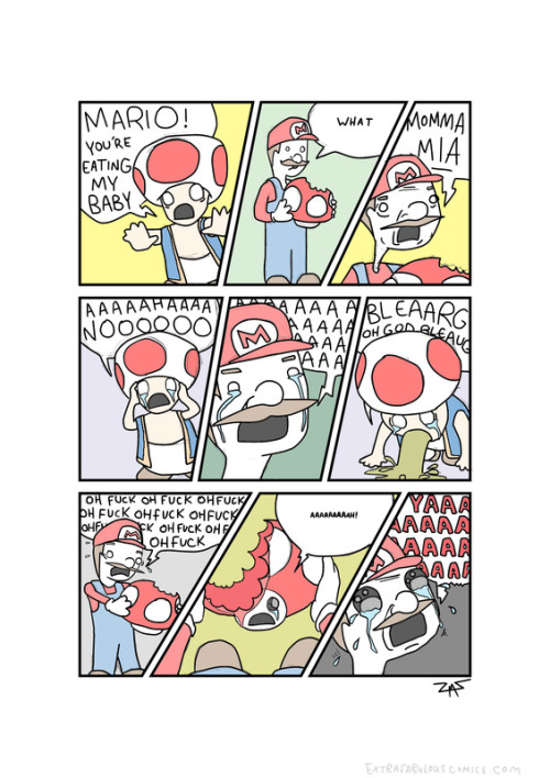 You would think Mario would feel awkward eating mushrooms since his bestie is a Toad #nintendo (via Now only sorta fabulous)