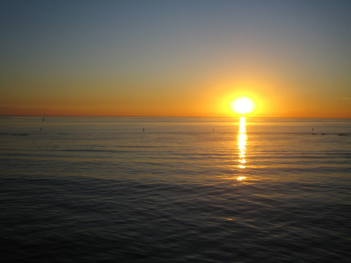 Sun setting over the pacific ocean. Santa Monica, california (B. Zzyzx 2008)
