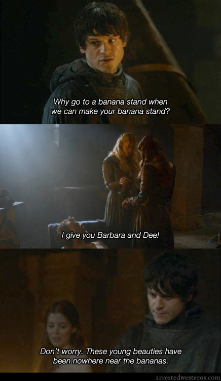 arrestedwesteros:  GOB: Why go to a banana stand when we can make your banana stand? I give you Barbara and Dee! Don't worry. These young beauties have been nowhere near the bananas. Making A Stand - 3x08 submission by Adam