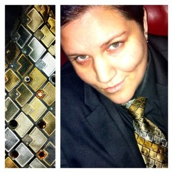 Bedazzled tie? Why yes, yes I do have one. ;) #silkybutch #dapper #butch #queer #genderqueer #gay #lesbian