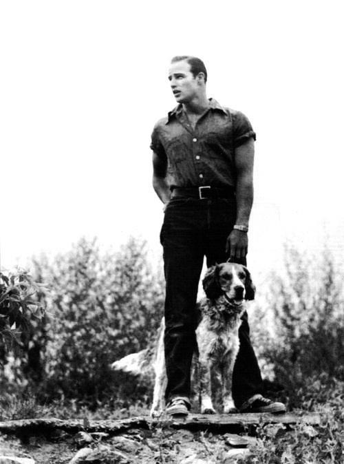 theniftyfifties:  Marlon Brando with his dog.