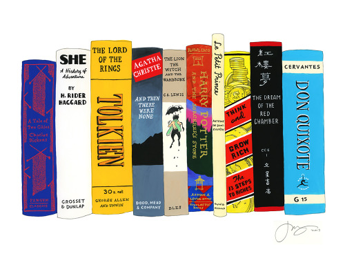 "Ideal Bookshelf 564: Ten Bestselling Books of All Time© Jane Mount 2013 / 18""x24"" / gouache & ink on paper The list is a bit debatable due to unclear early records of books sales, but it's at least very close to correct if not totally, exactly correct."