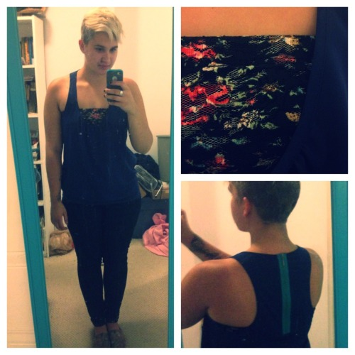 indiedrone:  veganwho:  Ootd for my sisters ballet recital. New shirt and floral bandeau!  So pretty!  Bandeau!