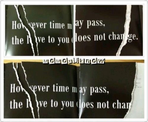 "tohofanboy:  hidden message TIME A B C album tohoshinki ""however time may pass, the love to you does not change"" cr: on pic  And I was wondering why two pages in my copy were ripped :p"