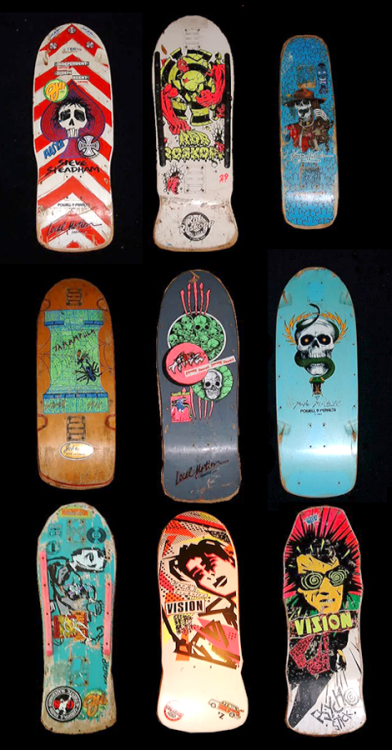 gogoray:  80's skate decks.   I remember all these boards - what I was skating on when I was a kid.  If you haven't seen it already, check the doco on Bones Brigade (on Netflix instant), called, eponymously, Bones Brigade.  I liked the Skull Skates decks - even if the Powells and the Visions were better.  Guess I was always a sucker for skulls and shit.